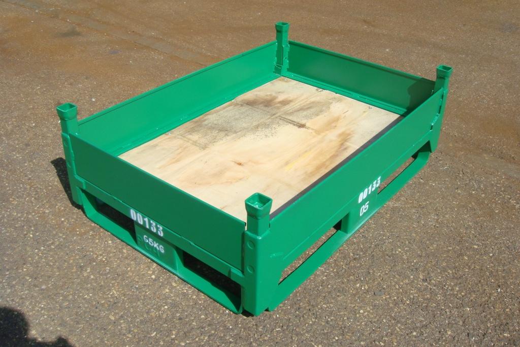 Conteneur tolé métallique non repliable avec fond en bois