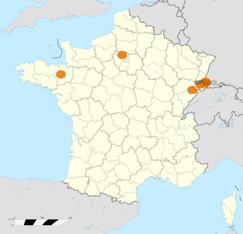 Implantations de la société Stalder sur le territoire Français